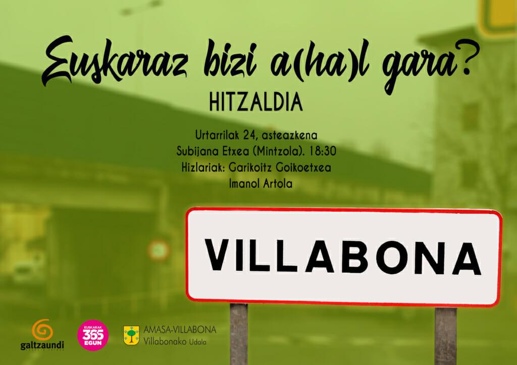 Villabonaren txanda: 'Euskaraz bizi a(ha)l gara?' 1