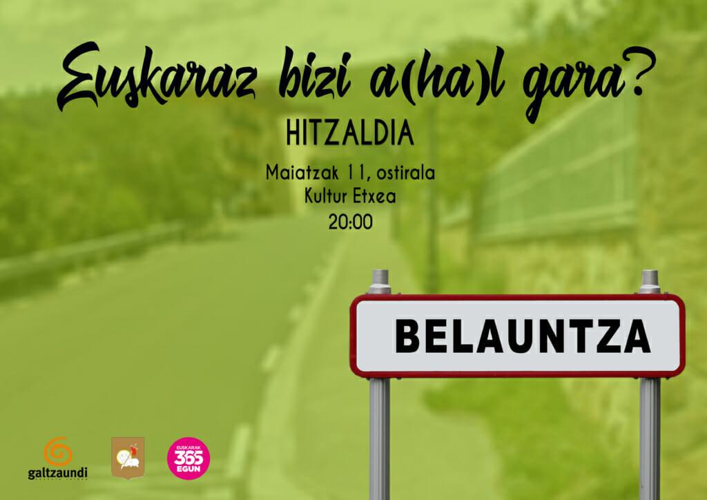 Hitzaldi zikloak Belauntzan egingo du hurrengo geldialdia 1