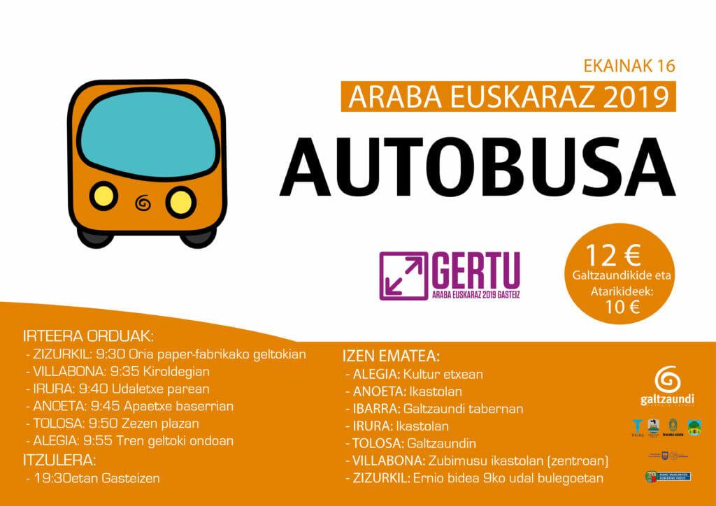 Araba Euskarazera autobusez joateko aukera Galtzaundirekin 5