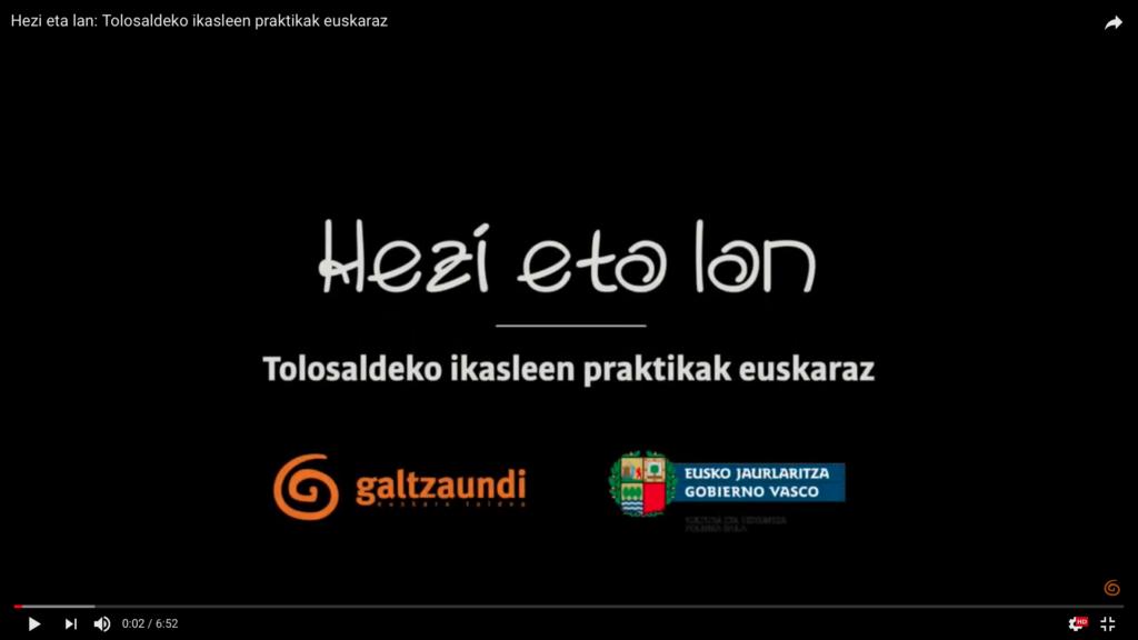 Ikasleen praktikaldiak euskaraz izatea bermatzeko 'Hezi eta lan' proiektua garatu da 11