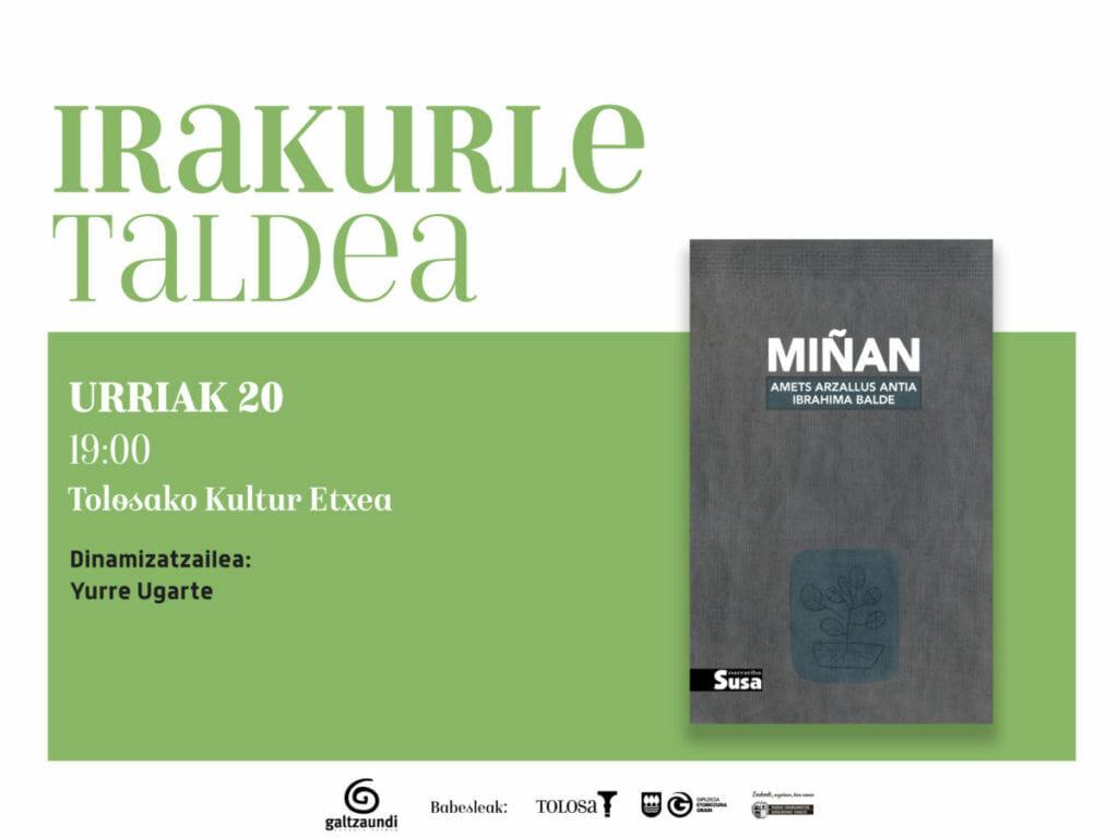 'Miñan' liburua landuko du Irakurle Taldeak urriko saioan 1